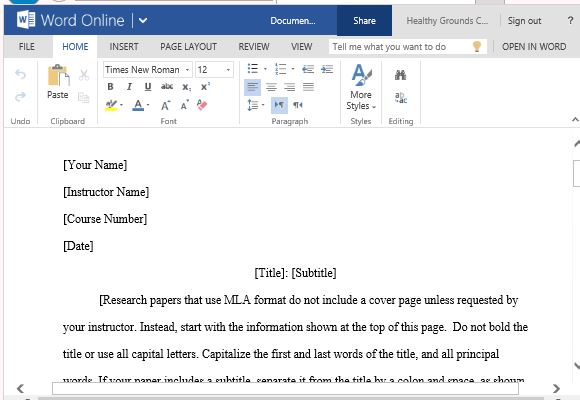 mla format template word 2010