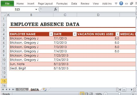 free employee absence tracker for excel. Black Bedroom Furniture Sets. Home Design Ideas