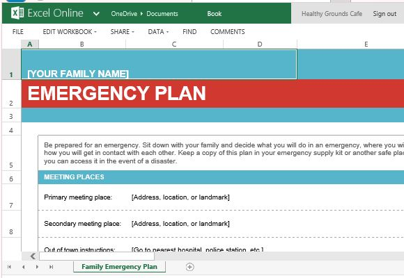 Family Emergency Plan Template For Excel Online - Business emergency plan template