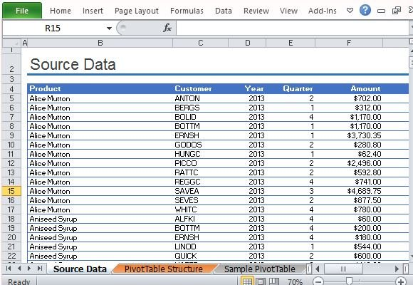 Sample pivottable report for excel for Table design sample