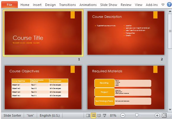 Course Overview Powerpoint Template