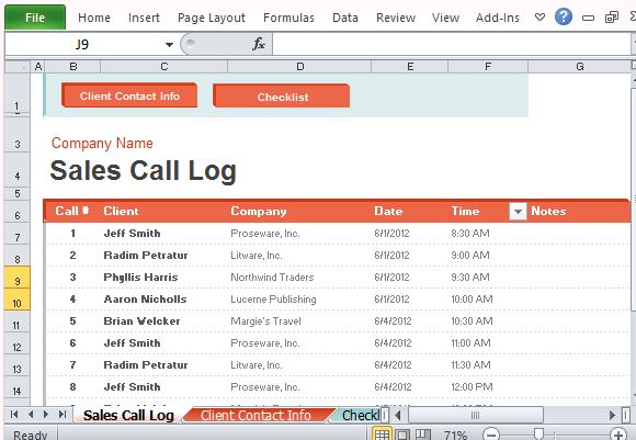 Sales Call Log Organizer For Excel - Excel log template