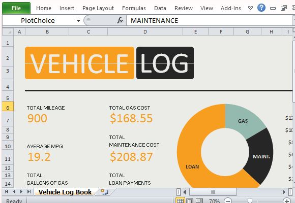 calculate mileage and fuel expenses with vehicle log book for excel