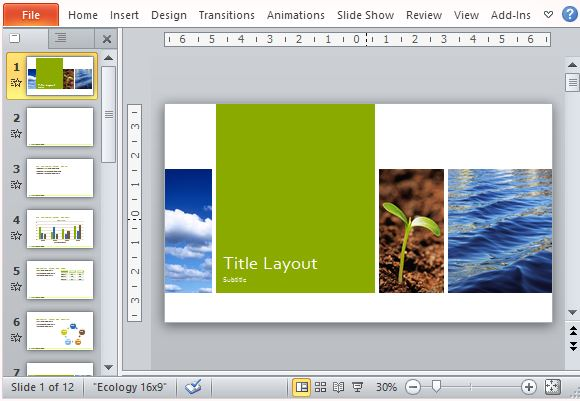 Nature ecology photo presentation template for powerpoint nature inspired layout for widescreen presentations toneelgroepblik Gallery