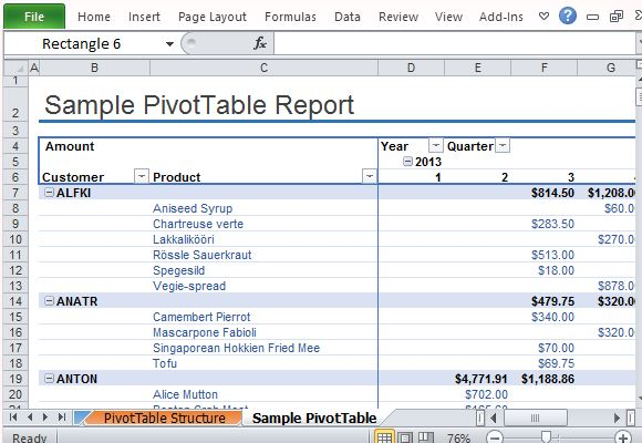 sample pivottable report for excel