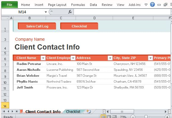 Sales call log organizer for excel for Client information sheet template excel