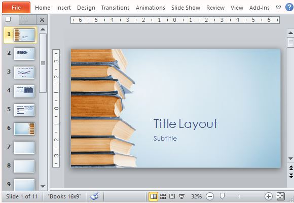 Blue bookstack educational powerpoint template visually appealing template for book publishing and literary presentations toneelgroepblik Gallery