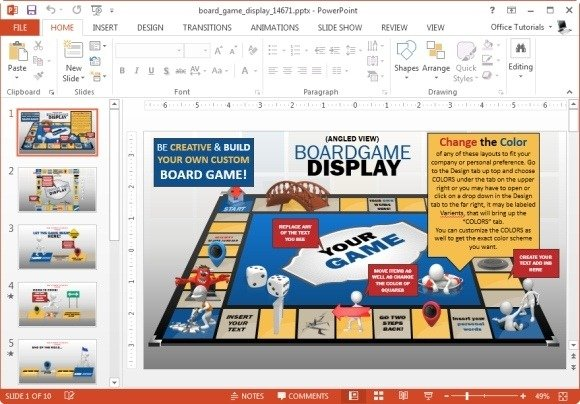 animated board game powerpoint template, Powerpoint templates