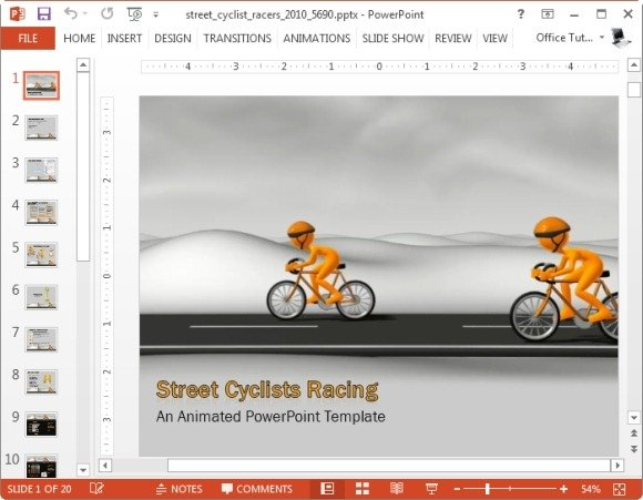 Animated competition powerpoint templates street cyclists racing powerpoint template toneelgroepblik Images