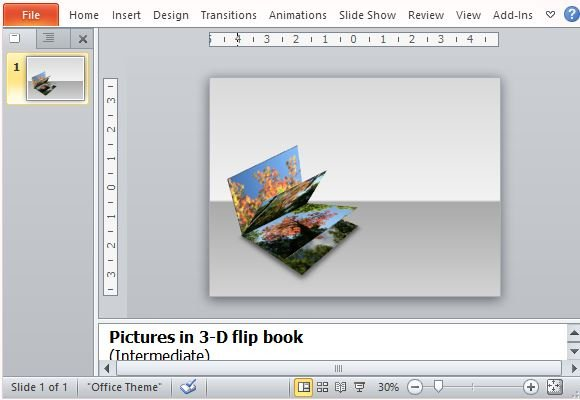 How to create a 3d picture flip book in powerpoint 3d flip book design as stand alone or title slide toneelgroepblik Choice Image