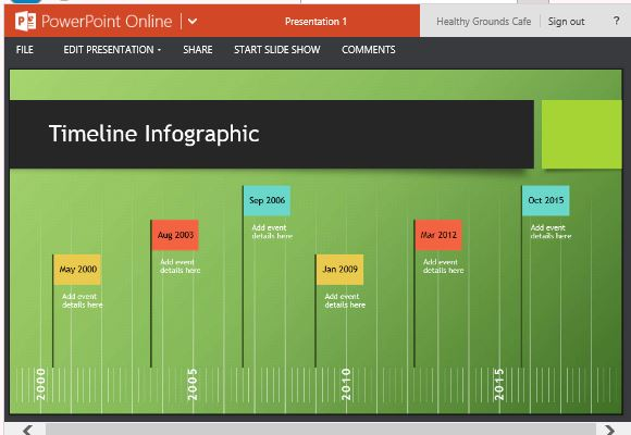 attractive slideshow view of inforgraphic timeline template