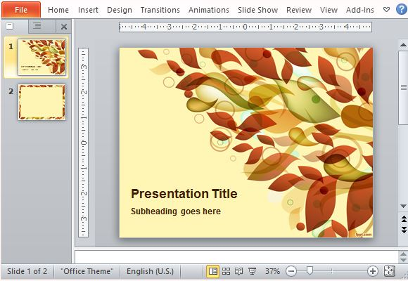 Autumn Leaves Abstract Template for PowerPoint
