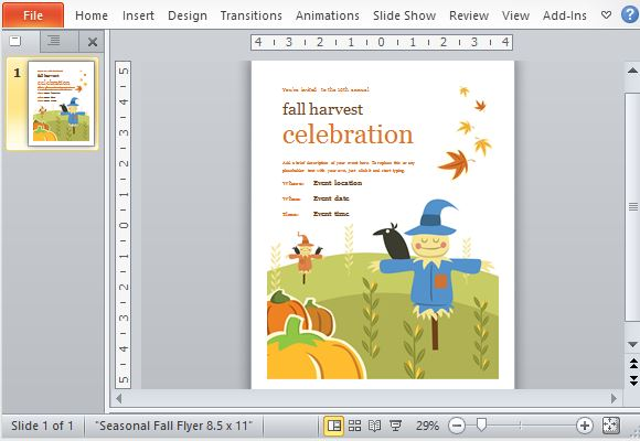 Beautiful Fall-Themed Seasonal Invitation or Flyer