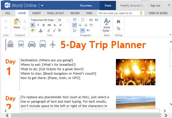 Trip planner template for word online beautiful stylish and fun trip planner for vacations toneelgroepblik Choice Image