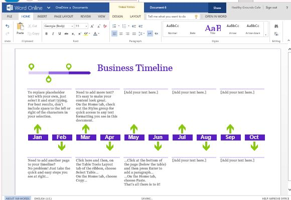 Business Project Timeline Template For Word Online - Business timeline template