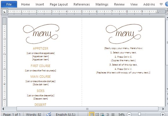 ... Menu Template For Word. Create A Five Course Dinner And Impress Your  Guests  Menu Template For Word