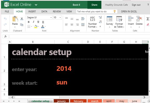 Automatic Monthly Calendar Template For Excel Online
