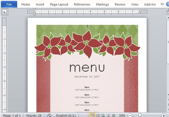 Elegantly Festive Holiday Themed Menu Template  Free Word Menu Template