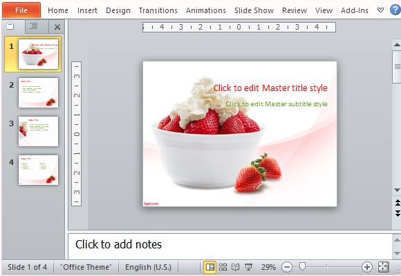 Fresh And Healthy Strawberry Filled Presentation Template