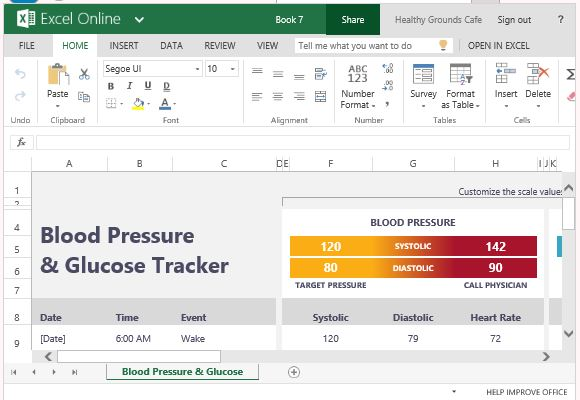 blood glucose tracker template