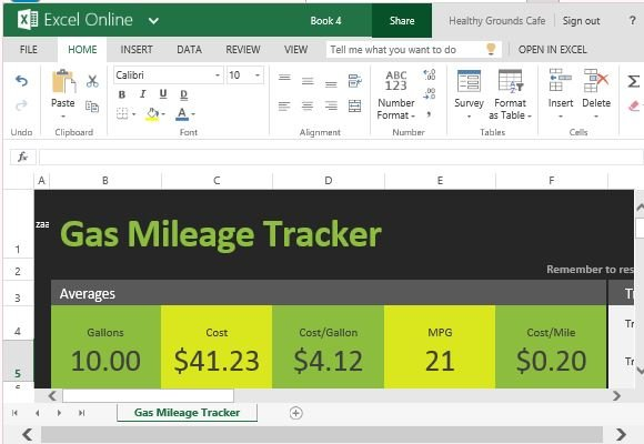 free gas mileage tracker for excel online