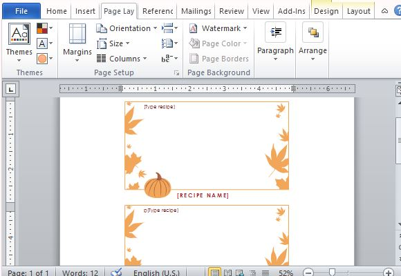 Best thanksgiving templates for microsoft word for Template for recipes in word