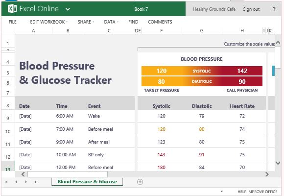 Pressure And Glucose Tracker For Excel
