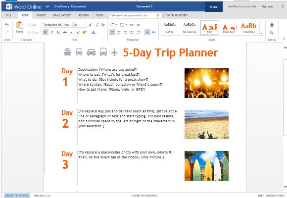 Trip planner template for word online for Trip planning itinerary template