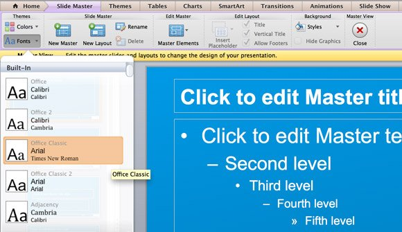 How to change the theme fonts in powerpoint 2011 for mac here you can see that powerpoint 2011 for mac let you change the default font used in the presentation there are built in font themes but you can also toneelgroepblik Images