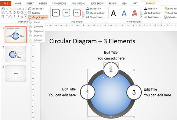 Combine Shapes PowerPoint 2013