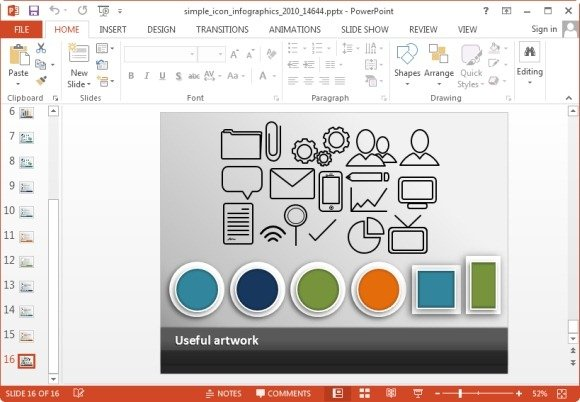 Animated Simple Icons PowerPoint Template