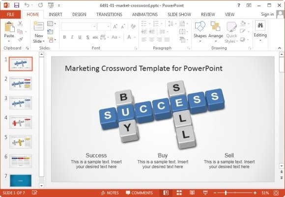 marketing crossword puzzle template for powerpoint