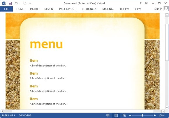 Menu Maker Templates For Word