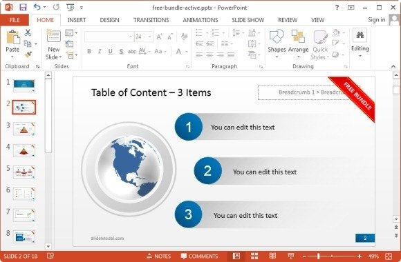 table of content for powerpoint