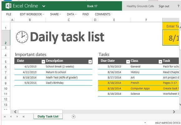 daily task list template for excel. Black Bedroom Furniture Sets. Home Design Ideas