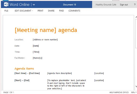 Business meeting agenda template for word online clean professional looking meeting agenda template accmission
