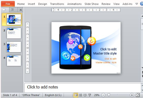 Colorful Mobile Themed PowerPoint Template for Technology Industry
