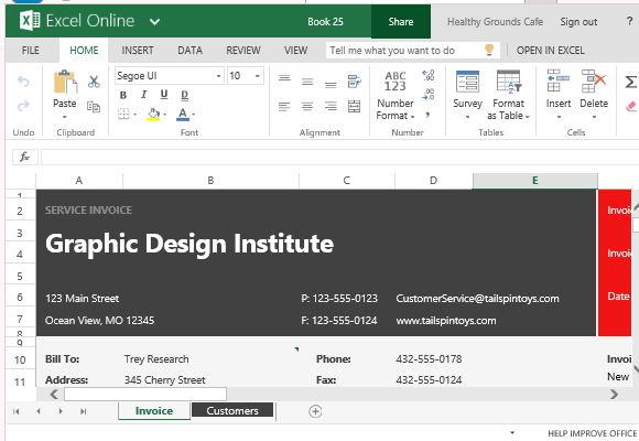 invoice on excel