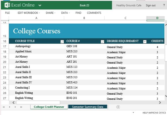 College Credit Planner For Excel Online