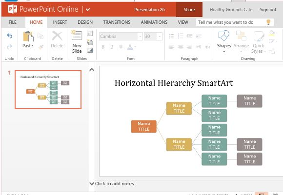Horizontal hierarchy organization chart template for powerpoint create organizational charts by adding text to sample chart accmission