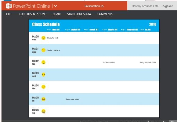 how to create class schedule by subject using powerpoint
