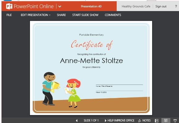 making an award certificate