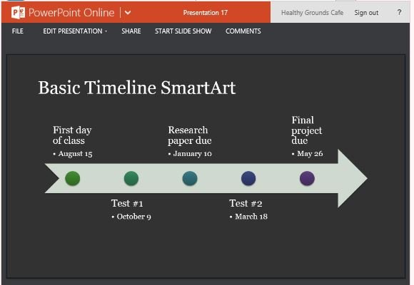 Timeline smartart diagram template for powerpoint online show events in history or progression in projects in timeline format ccuart Image collections