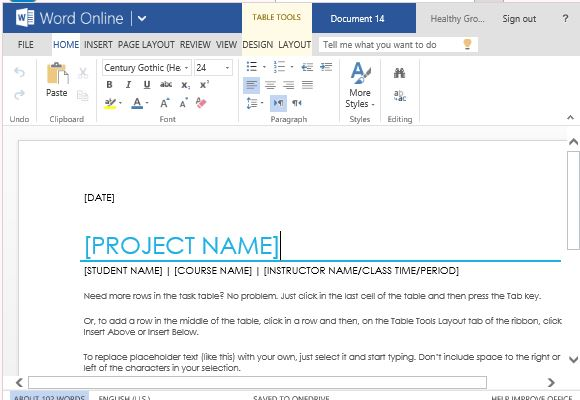 School Project Task List Template For Word Online