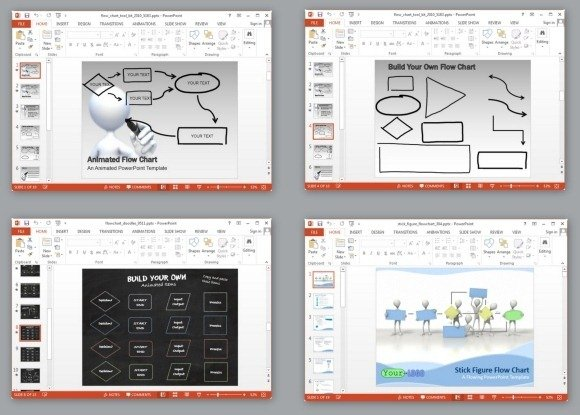 animated flowchart maker templates for powerpoint and keynote, Modern powerpoint