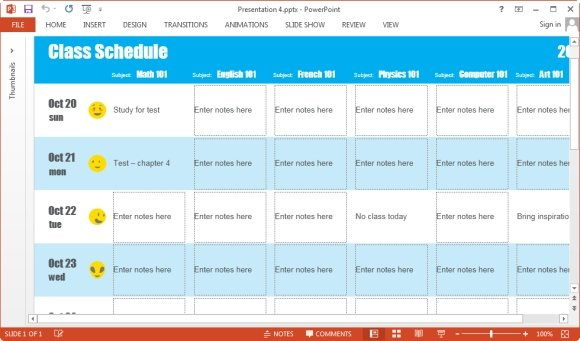 create schedules in PowerPoint 2013