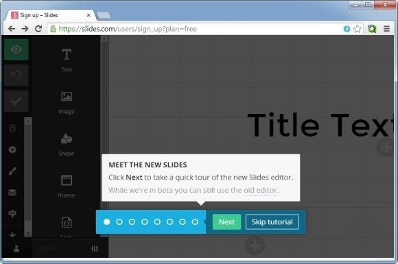 getting started with slides web app