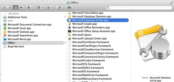 Microsoft Database Utility Window screenshot