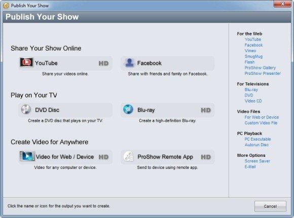 publish proshow slideshow