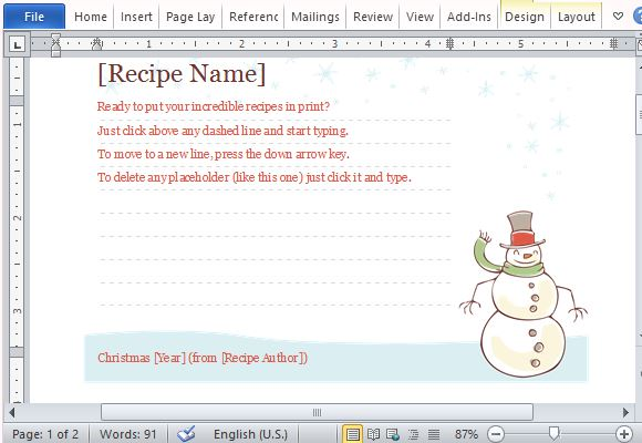 Recipe Cards Maker Templates For Word